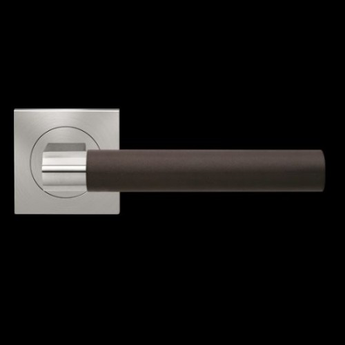 Karcher Design Madeira ER45QL Door Lever Handle on a Square Rose - Leather Handle